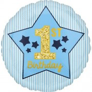 Μπαλόνι Foil 1st Birthday Boy Stars