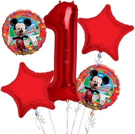 Mickey Mouse Red Balloon Bouquet - 5τμχ.