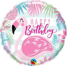 Μπαλόνι foil Flamingo Happy Birthday 18''