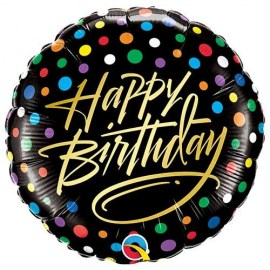 Μπαλόνι foil Happy Birthday Gold Script & Dots 18''